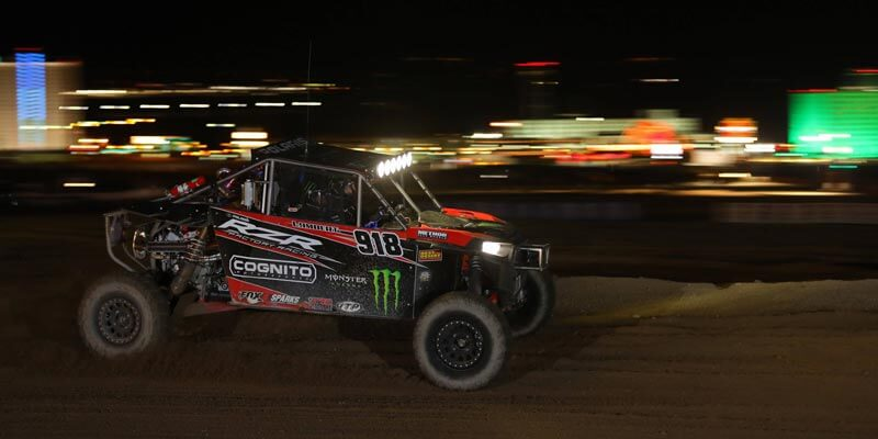 The No. 918 Cognito Motorsports / Polaris RZR Turbo of Justin Lambert, wearing 32-inch ITP Ultra Cross R Spec tires, captured second in the UTV Turbo ranks at the BITD Laughlin Desert Challenge event. (By Harlen Foley)